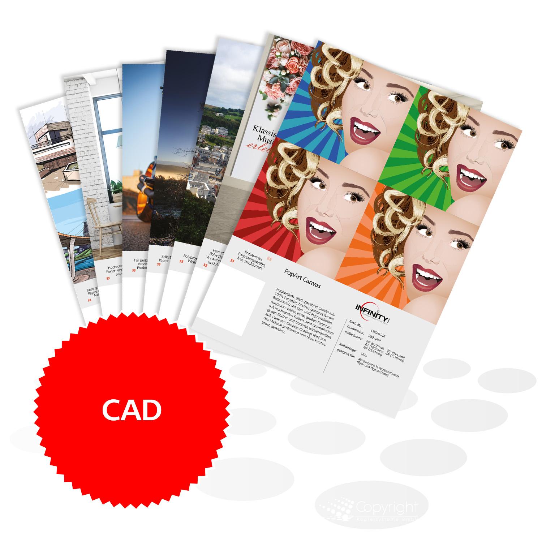 Infinity Mustermappe – bedruckte CAD Papiere
